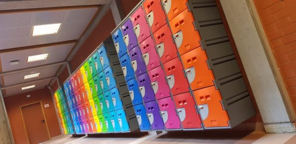 Colourful School Lockers Hallway